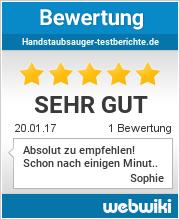 Handstaubsauger-Testberichte.de wurde als -sehr gut- bewertet!